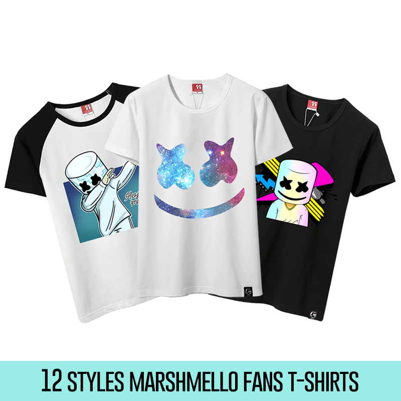 12 Styles Unisex Marshmello   T     Shirts   Men Marshmello DJ   T  -  Shirt   Female Short Sleeve   T  -  shirt   Male Fans Costume Tees For Cosplay
