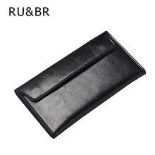 Ru & br einfache schlank clamshell echtem leder frauen brieftasche heißer rindledermappe womens clutch top qualität creative umschlag paket