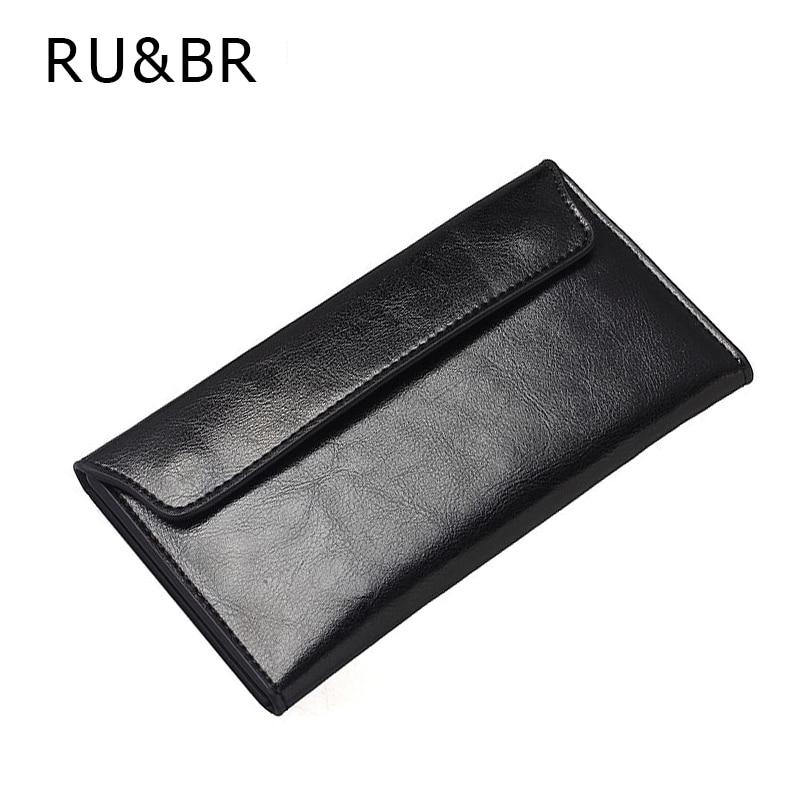 RU&BR Simple Slim Clamshell Genuine Leather Womens