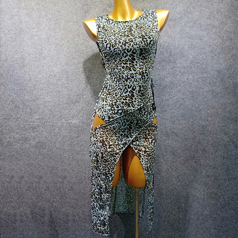 Latin Dance Dress Women Round Neck Sleeveless Split Leopard Clothes Adults Rumba Cha Cha Samba Dancing