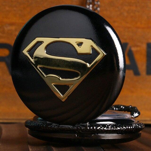 Cool Superman Pocket Watch Glossy Black Steel Case Slim Necklace Marvel Superhero Anime Clock Best Gifts for Children Boys Fans