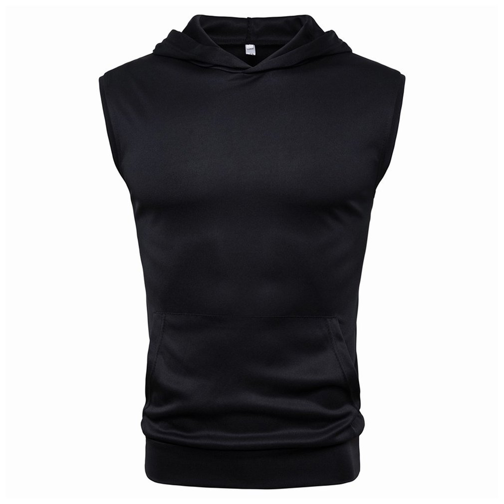Summer Solid Color Shirt Top Fashion Comfortable Hooded Men'S Sports Sleeveless T-Shirt Skin Friendly