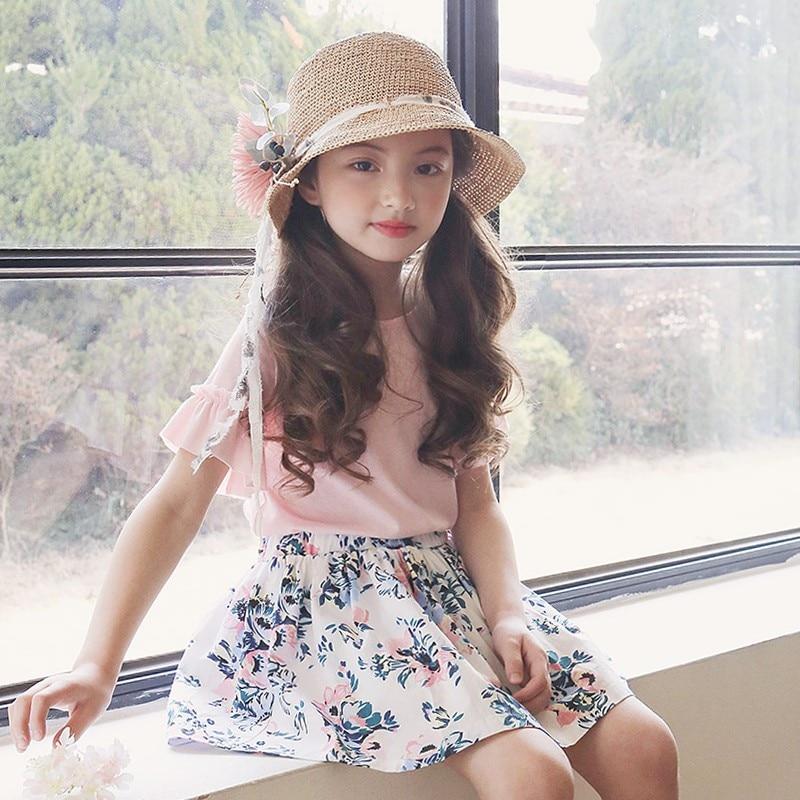 3-10Y Fashion Children Girls Floral Clothing Sets Kids Summer Suit For Girl Clothes Sets 2pcs Lace T Shirt +flower Skirts стоимость