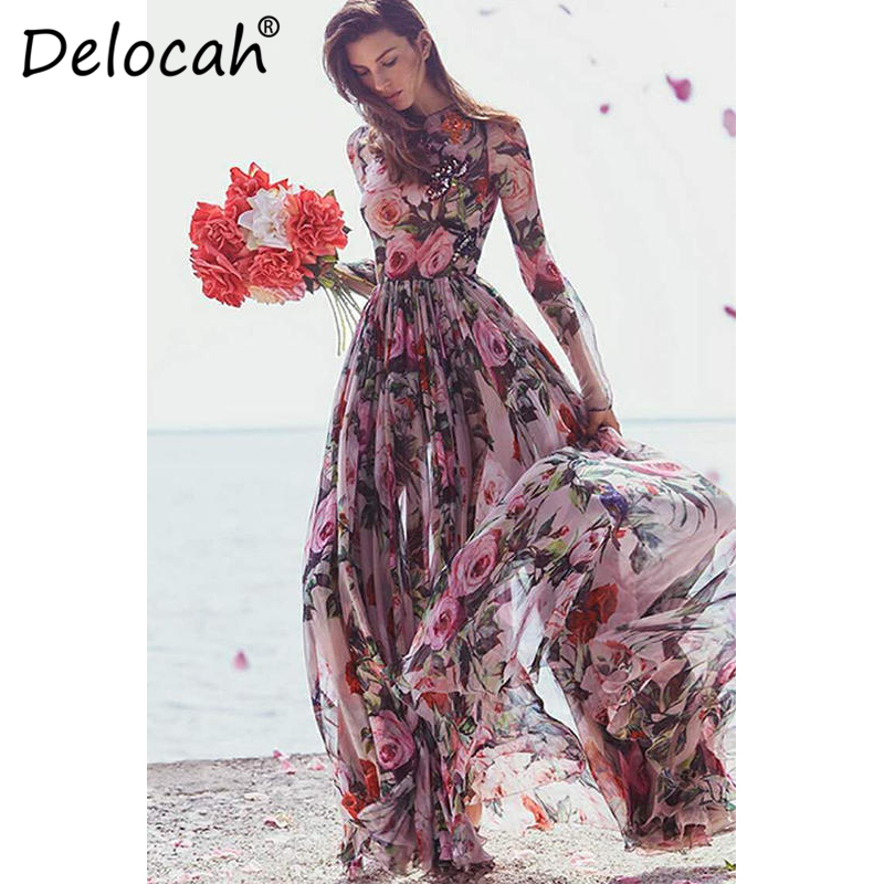 Delocah Women Vacation Maxi Dresses Runway Fashion Design Long Sleeve Holiday Boho Elegant Chiffon Flowers Printed Long Dress