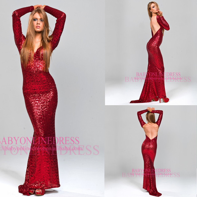 Red Sequin Long Sleeve Prom Dresses