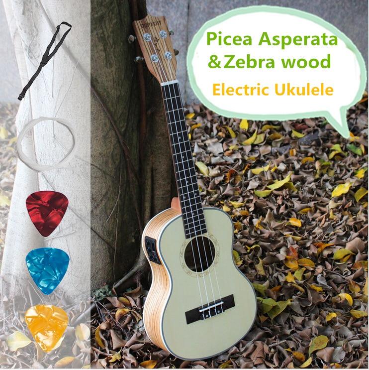 Ukelele Sopran Konzert Tenor Akustische Elektrische Ukulele 21 23 26 Zoll Mini Gitarre Guitarra Picea Asperata Zebra Holz Plug-in Uke