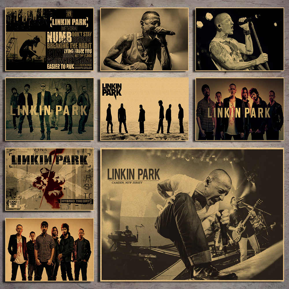 Vintage Retro Linkin park rock band musica Chitarra Matte Kraft di Carta Antico Poster Wall Sticker Per La Casa Decora