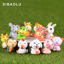 Cartoon Animal Figure Chinese Zodiac Miniature figurine model Home Decoration Fairy Garden statue kids toy Home ornaments