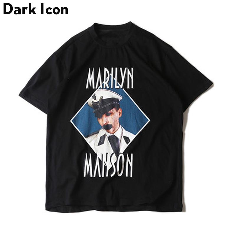 Vintage Character Printed Hip Hop Tshirt Short Sleeve 2017 Summer Street O-neck Mens Tshirts Male Clothes Black Cotton