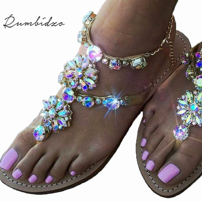 Rumbidzo 2018 New Bohemian Women Sandals Crystal Flat Heel Sandalias Rhinestone Chain Women Shoes Thong Flip Flops Zapatos Mujer
