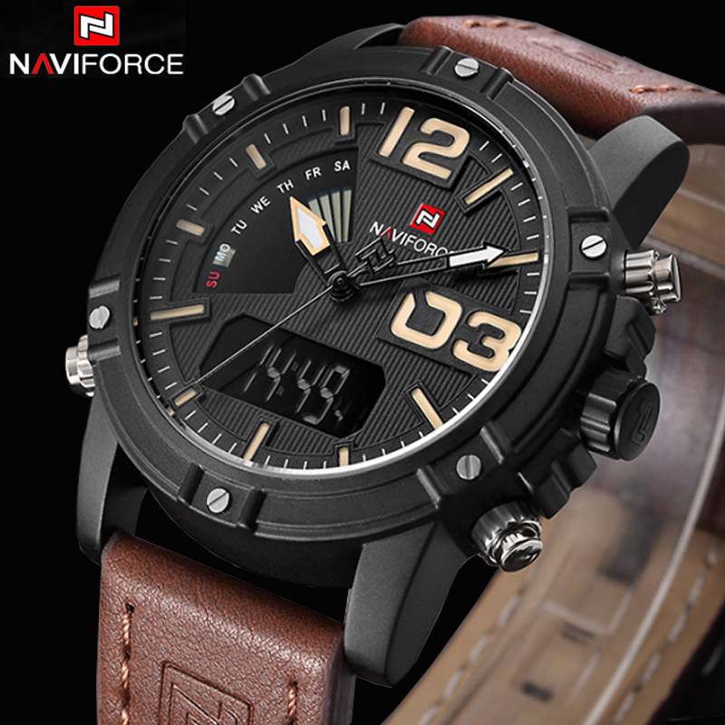 New NAVIFORCE Men Watch Dual Time Zone Alarm LCD Sport Watch Mens Quartz Wristwatch Waterproof Dive Sports Digital Watches bewell multifunctional wooden watches men dual time zone digital wristwatch led rectangle dial alarm clock with watch box 021a