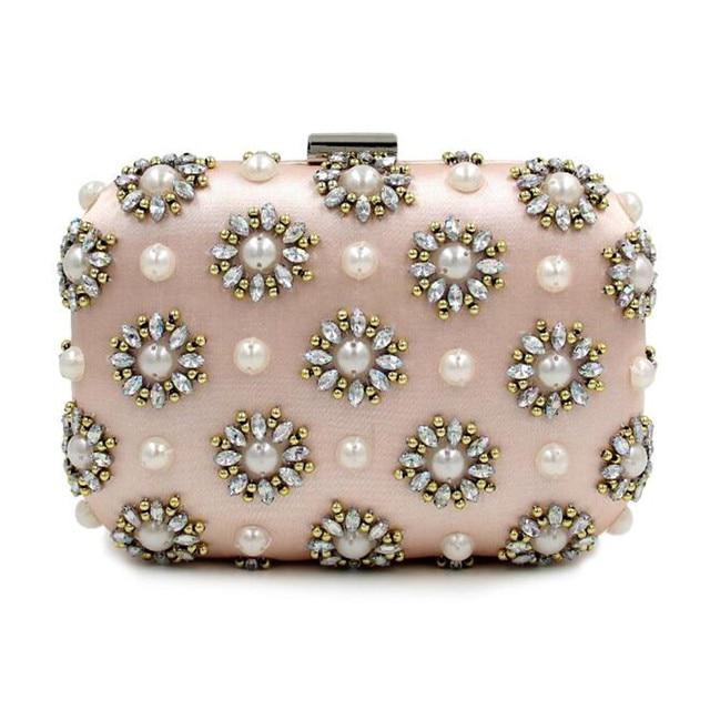 High grade pearl diamond flowers evening bag women party wedding handbag pink bride clutch bag purses and handbags chain wallet