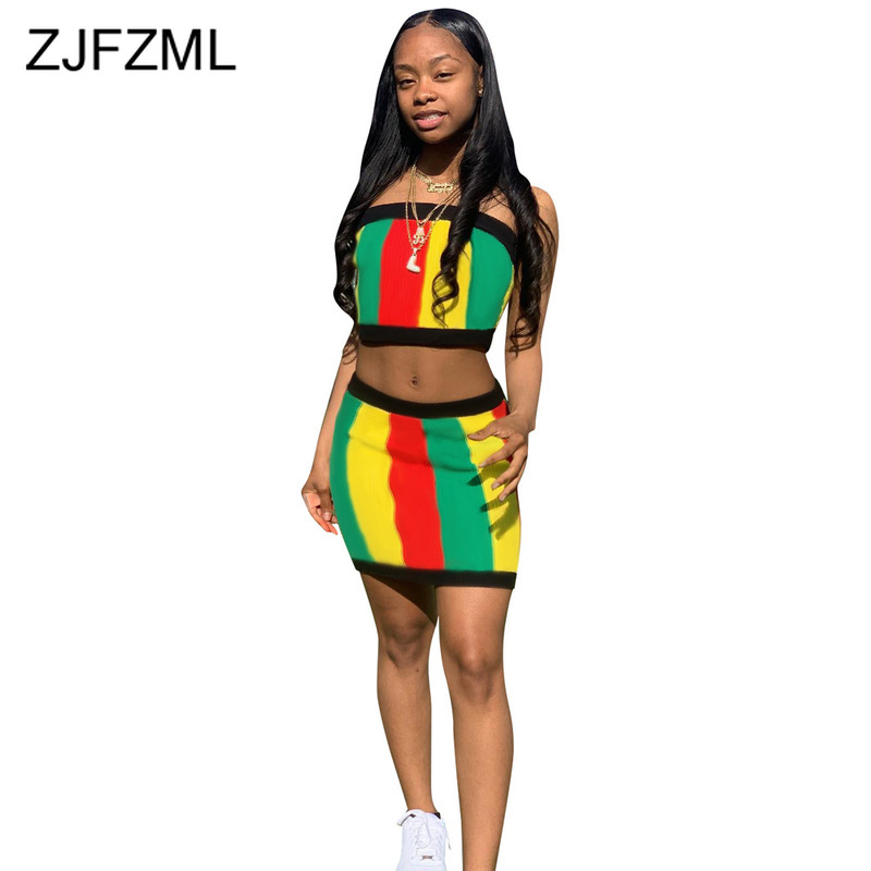 Rainbow Striped Sexy Two Piece Set Summer Clothes For Women Strapless Backless Crop Top+ Bodycon Mini Skirts 2 Piece Club Outfit