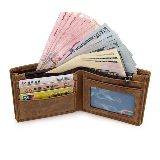 100% Top Quality Cow Genuine Leather Men's Wallets 4