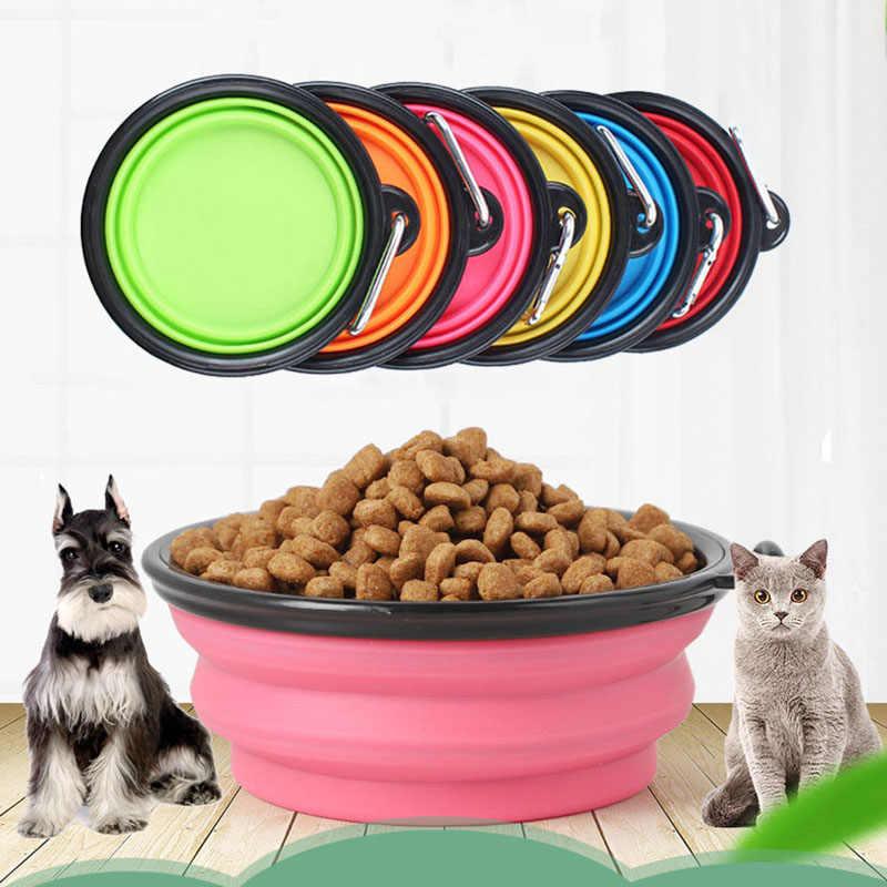 Faltbare Hund Katze Schalen BPA FREI Food Grade Silikon Tragbare Haustier Schüssel Faltbare Reise Schüssel für Feed & Wasser auf wandern Camping
