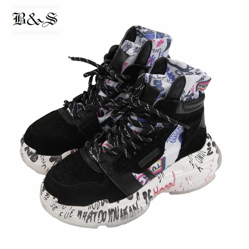 2018 Noir et Rue Hip Hop Graffiti plate-forme semelle épaisse personnalisé femmes Bottes Augmentation Talon En Cuir véritable À La Main Bottes