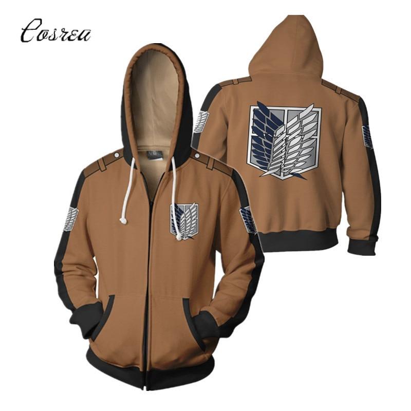 Attack on Titan Anime Hoodie Sweatshirt Zipper Jacket Long Sleeve Top Coat Streetwear Men Halloween Costume Men All Might Female