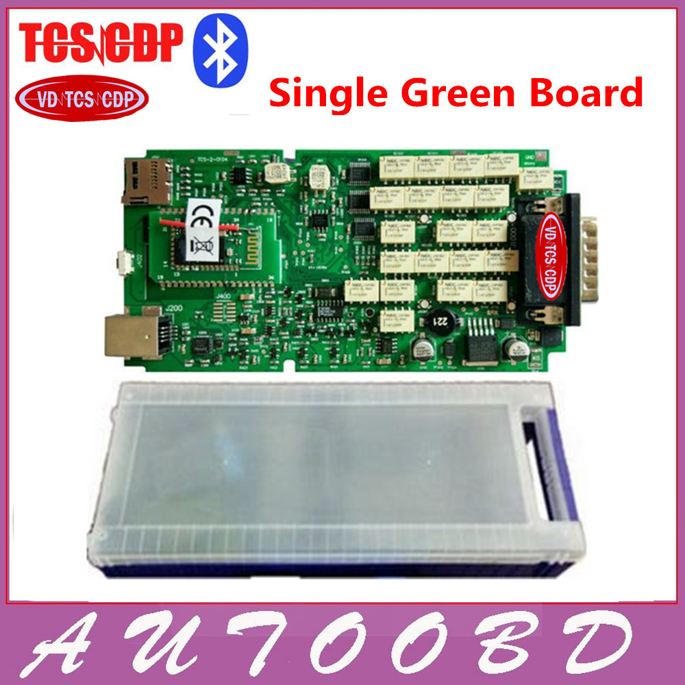 DHL free 2014.R2 Keygen Single Green PCB board A++qualtiy VD TCS CDP pro plus plastic box &install video LED and flight function single green board multidiag pro 2014 r2 keygen