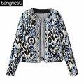 Tangnest estampado floral bordado rebordear chaqueta 2017 vintage estilo nacional ocasional de la corto abrigo abrigos o-cuello wwm280