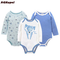 AGKupel 2017 New Three Piece Rompers Children Baby Clothing Cotton Print Clothes Of Baby S Kids