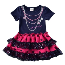 Brand Girl Dresses Winter Autumn Flower Children Cotton Striped Straight Cartoon Dress H7111