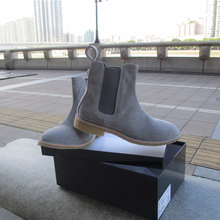 2018 spring and autumn leather, smoked rubber outsole, Chelsea boots, mens shoes, chivalry boots.