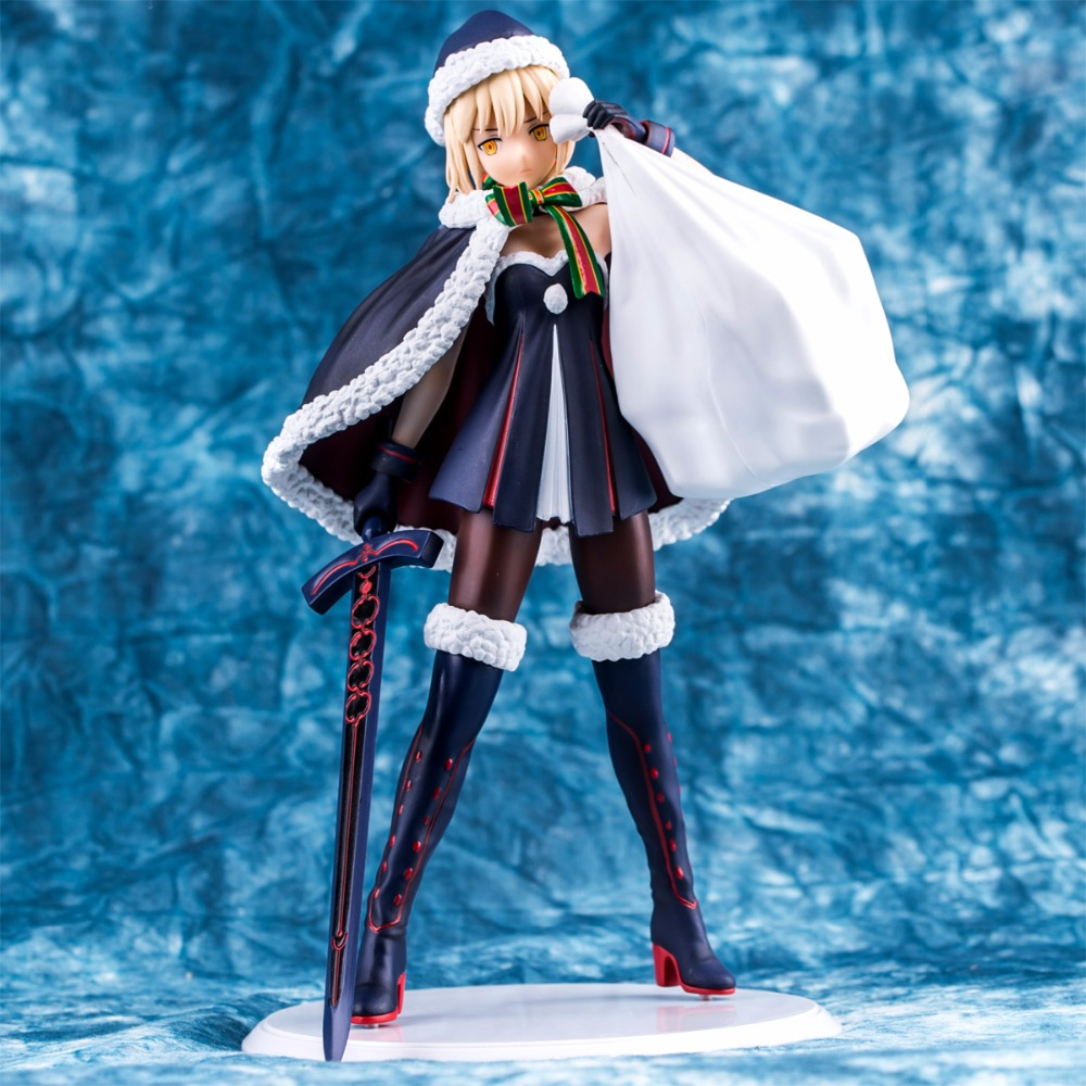 ZXZ Fate Grand Order Saber Action Figure 1/7 scale painted figure Christmas Version PVC Model Toy in new box Premium Edition fate grand order anime saber jeanne gilgamesh e f g h i j series japanese rubber keychain