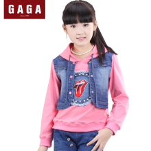 GuaGuaEgg 2016 Winter and Autumn Girls Sweater Hoodies Fake Two Piece Fashion Kids Clothes Pink Tops 10 – 14 Years Old C36191NG