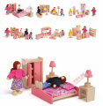 Wooden Pink Doll House Furniture Children Pretend Play Toys For Girls Miniature Rooms Gifts For Kids Dollhouse Miniature Dolls