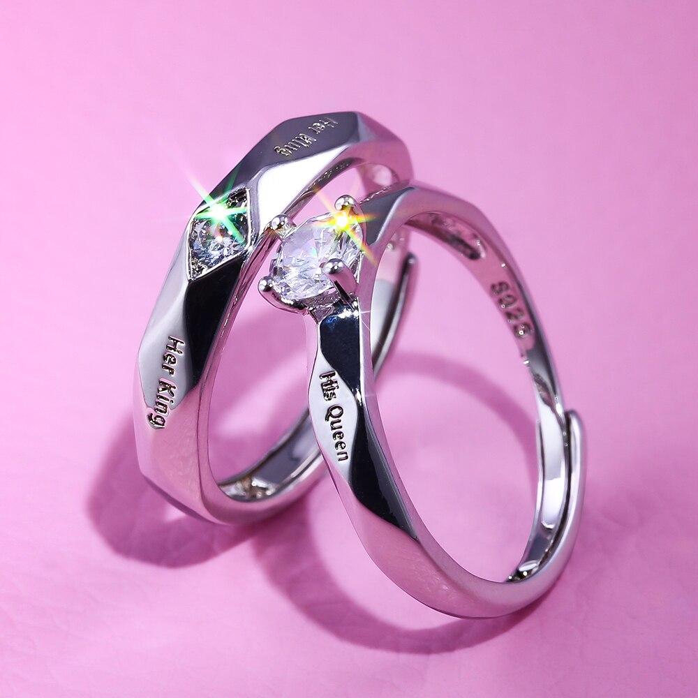 Huitan Trendy Couple Promessa Amor Token Ring Define Com Carta de Sua Rainha & Seu Rei Gravado Mulheres Anéis de Dedo Por Atacado lotes & Granel