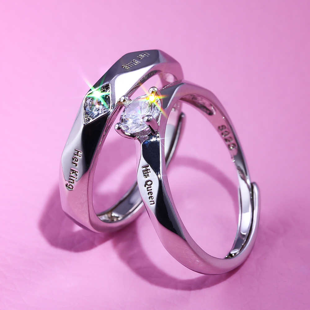 Huitan Trendy Couple Pledge Love Token Ring Sets With Letter His Queen&Her King Engraved Women Finger Rings Wholesale Lots&Bulk