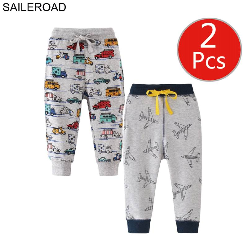 Image 3 - SAILEROAD 2pcs Kids Trousers Pants with Car Print 2019 Boys Sweatpants Full Length Spring Children Sweatpants for Boys Clothes-in Pants from Mother & Kids