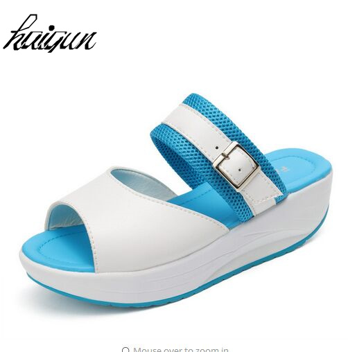 ef5647865f6 New arrival summer women sandals comfortable buckle strap med platform  sandals fashion 3 colors casual wedge sandals slippers