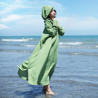 MM047 New Arrival Original Vintage Brief Loose Plus Size Hooded Robe Women Long Sleeve Maxi Cotton