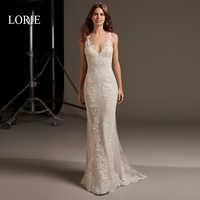 LORIE Meerjungfrau Hochzeit Kleid Elegante Spitze Appliqued mit Tüll Ärmellose Scoop Neck Braut Kleider Freies Verschiffen vestido de novia