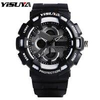 บุรุษนาฬิกาโครโนกราฟฟังก์ชั่นN Octilucent Clcok YISUYA 30 ATMดิจิตอลยางรัดสบายๆกองทัพAviatorกีฬานาฬิกาข้อมือฮอ