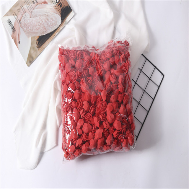 500 Pcs/lot Multicolor mini PE Foam Rose Artificial rose Flowers heads DIY Wreath Candy Box Material Home Wedding Decoration