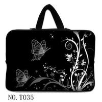 Black Butterfly Flower 15 Laptop Sleeve Bag Case Cover Hide Handle For 15 6 Acer Aspire