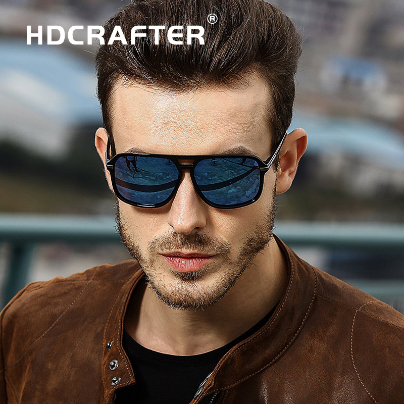 HDCRAFTER Classic HD Polarized Sunglasses Men Driving Brand Design Sun Glasses Man Mirror Retro High Quality Sunglass Eyewear
