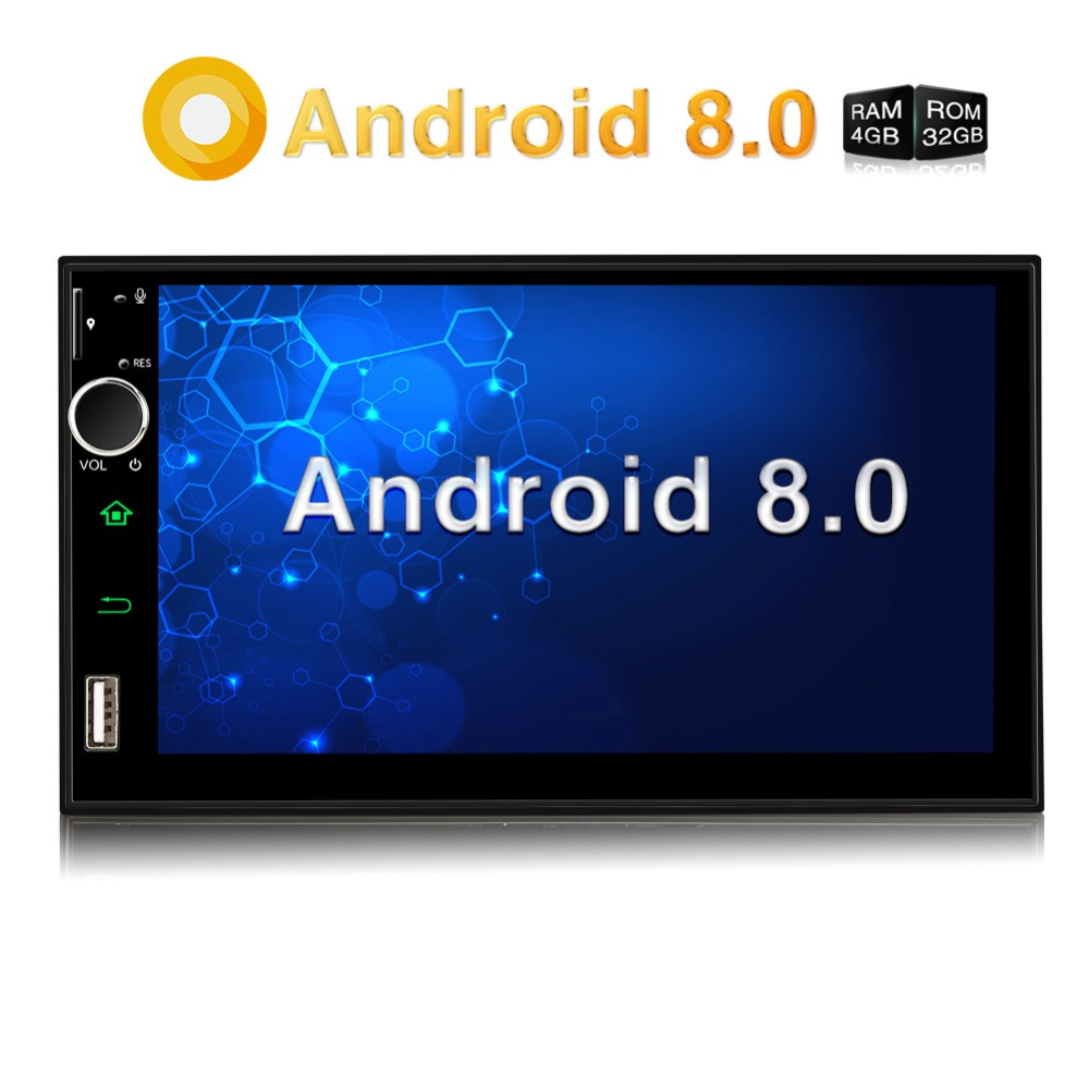 Pumpkin Qcta-Core 4GB RAM 32GB ROM Car Stereo 2 Din 7''Android 8.0 Universal Car Radio GPS Navigation Video Audio Player NO DVD