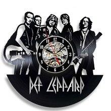 Creative Band Theme Hollow CD Record LED Clock Def Leppard Decor Gift Vinyl Record Wall Clock Fan Black Room Idea