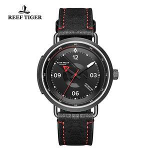 Image 5 - Reef Tiger reloj Blac Simple para hombre, pulsera de cuero, resistente al agua, militar, automático, RGA9055, 2020