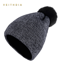 VEITHDIA 2018 New Soft Pom Poms Winter Hat for Women Fashion Solid Warm Hats Knitted Beanies Cap Brand Thick Female Cap