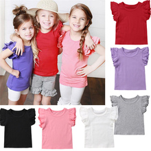 Emmababy Summer arrival kids Clothes Girls T-Shirt Solid Color O-Neck Short Flying Sleeve 6 Available High Quality