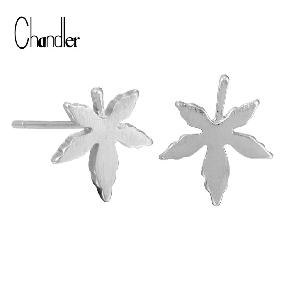 Mini Silver Autumn Canada Maple Leaf Stud Earring Stylish Nature Inspired 925 Sterling-Silver-Jewelry for Man & Woman Jewlery