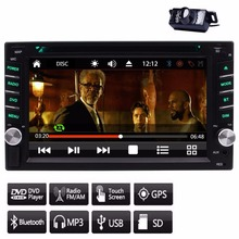 GPS NAVI 2 Din Car DVD Player Stereo FM/AM Radio Receiver Capacitive Touchscreen Steering Wheel Control GPS+Free Backup Camera