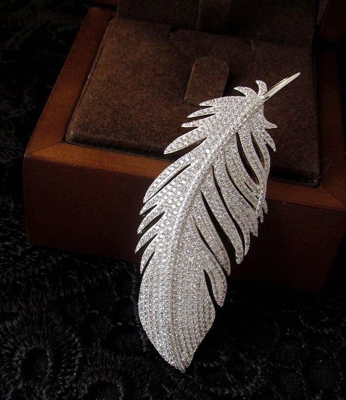 все цены на 2014 new zircon brooch brooch pendant feather dual star big European and American design section