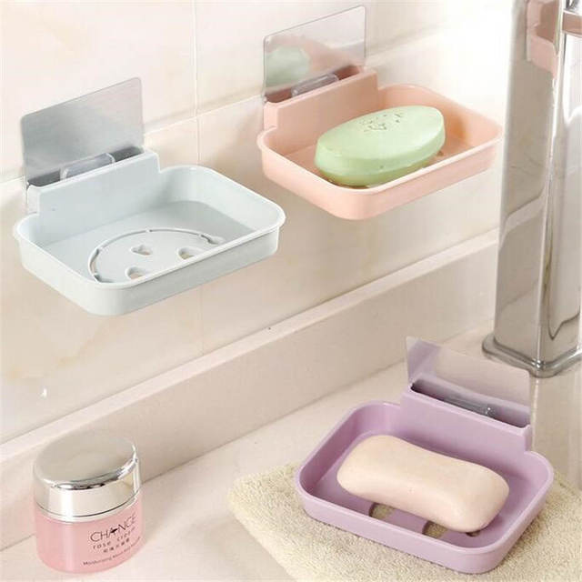 Plastic Drainage Soapbox Toilet Suction Cup Bathroom Shower Soap Dish Home Soap  Tray Wall Mounted Soap