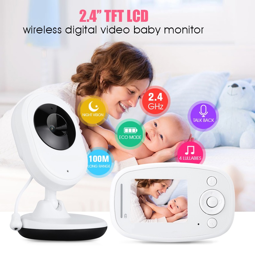 babykam baba eletronica wireless baby monitor 2.4 inch IR Night Light vision Intercom Lullaby Temperature monitor detector fetal