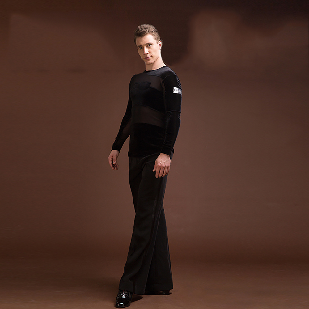 Sexy Latin Dance Shirts For Males Black Color Original Velvet Shirts Classical Men Chacha Professional Ballroom Clothes E019